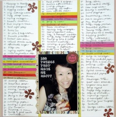 100 Things That Make Me Happy Scrapbooking Layout