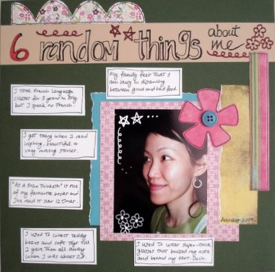 6 Random Things About Me Scrapbooking Layout