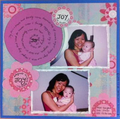 Scrapbooking layout on a woman holding onto her baby niece, Joy.