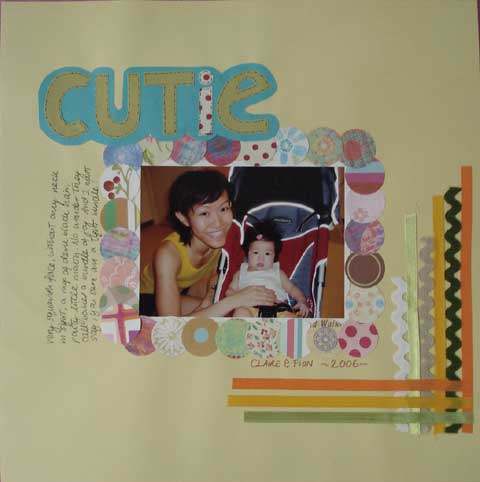 Scrapbook layout showing the use of ribbons as borders