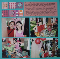 Scrapbook layout about a flea market event my sisters and I participated in years ago.