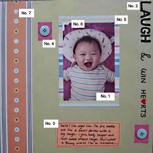 Scrapbooking layout that shows the basic elements of a layout.