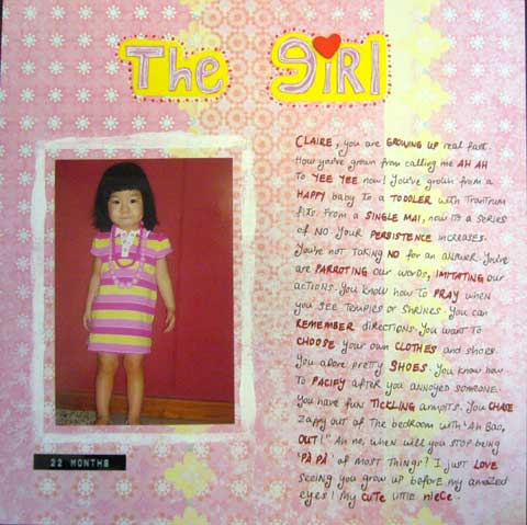 Scrapbook layout about using own handwriting to decorate the page.