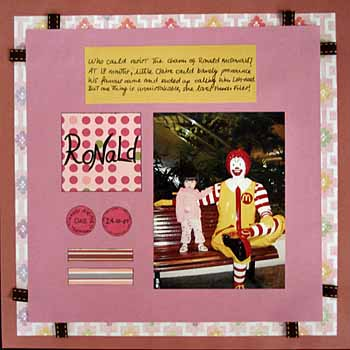Scrapbook layout of my niece Claire taking a picture with Ronald McDonald.
