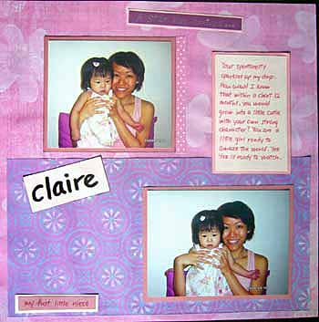 Scrapbook layout about my first niece, Claire.