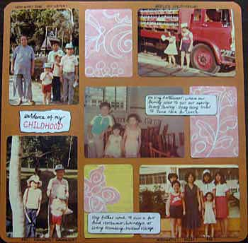 Scrapbook layout showing my rare childhood photos.