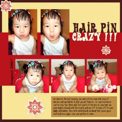 Digital layout of my niece Claire going crazy over hair pins.