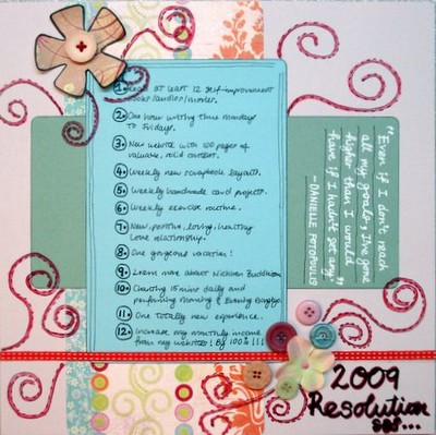 New Year Resolutions Scrapbooking Layout