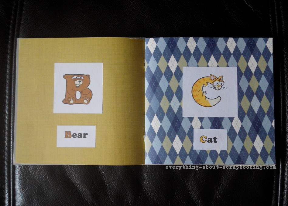 Animal alphabet book pages showing letters B and C.