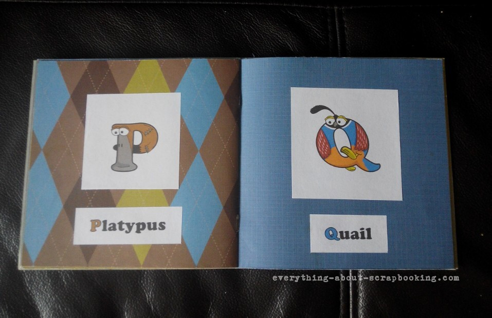 Animal alphabet book pages showing letters P and Q.