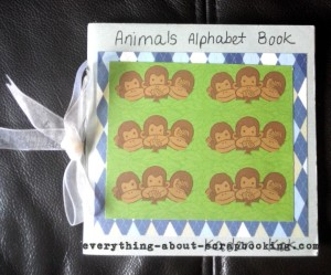 An animal alphabet scrapbook mini album created for my son's class project.
