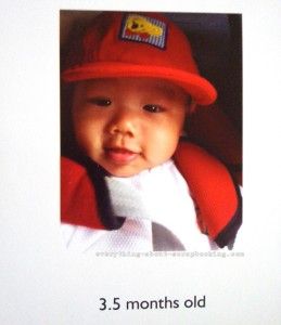 Photobook page of my baby boy at 3.5 months old.