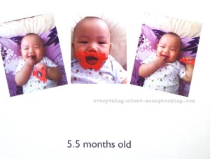 Photobook page of my baby boy at 5.5 months old.