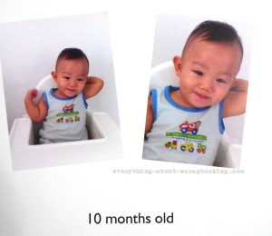 Photobook page of my baby boy at 10 months old.