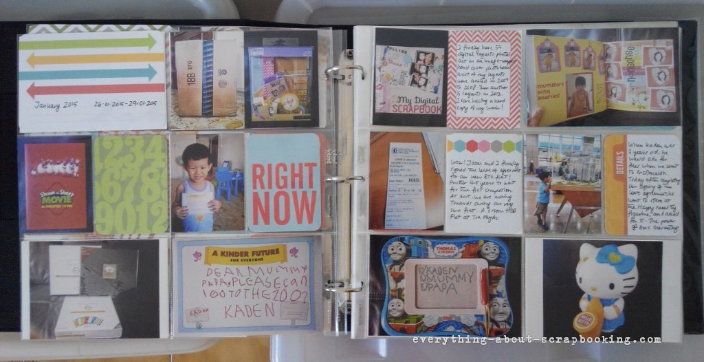 January 2015 pages of my Project Life scrapbook.
